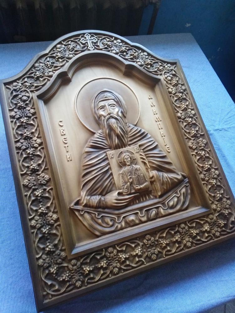 Ikona Sveti Nikola duborez na dasci